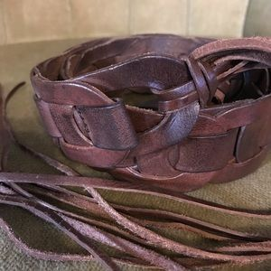 Boho leather tie belt